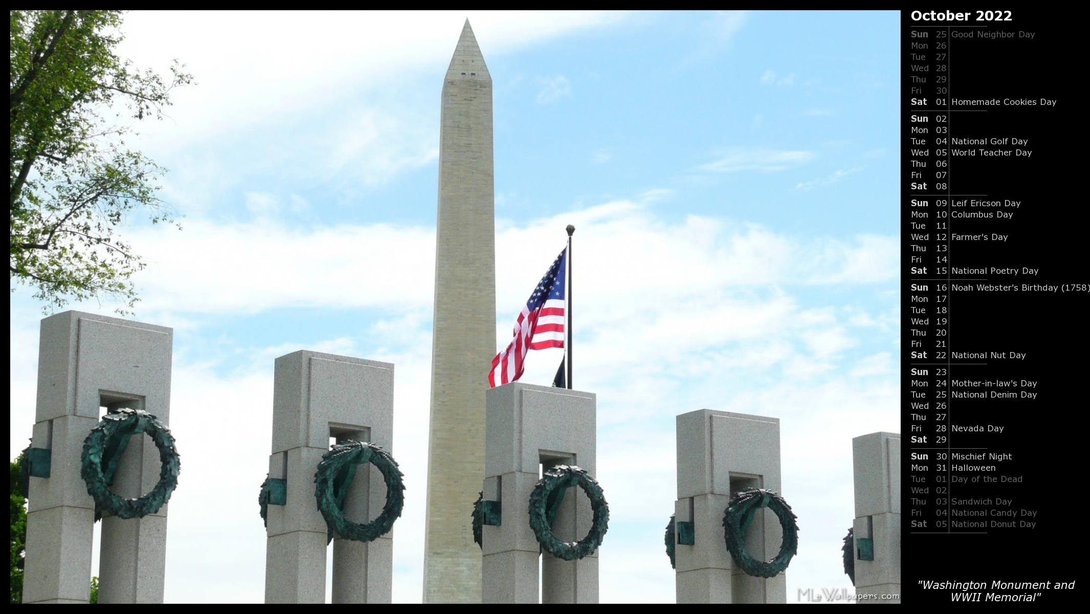 Halloween In Dc Sat 27 2020 MLeWallpapers.  Washington Monument and WWII Memorial (Calendar)