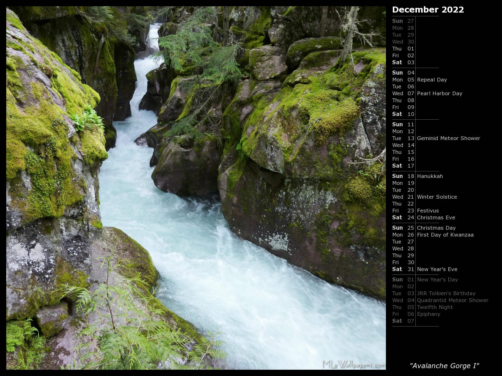 mlewallpapers - avalanche gorge i (calendar)